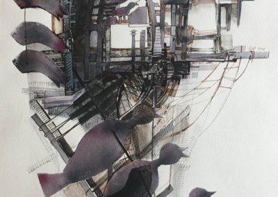 L. Ritók Nóra: Műmadár-dal (50X34 cm)