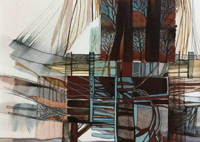 L. Ritók Nóra: Téli folyópart (34X24 cm)